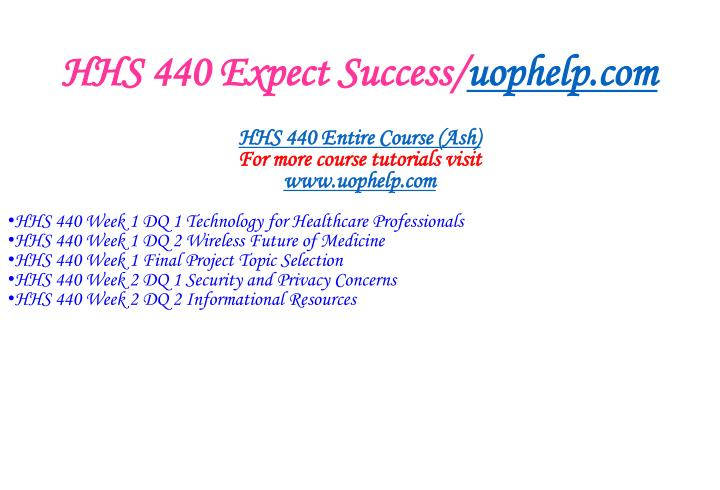 Hhs 440 expect success uophelp com1