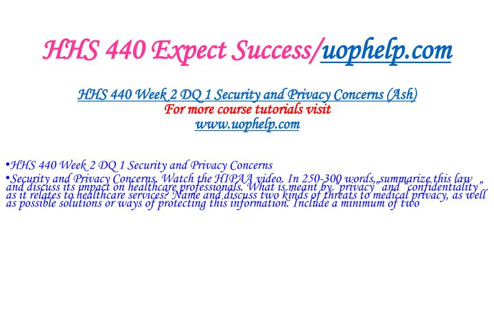 HHS 440 Expect Success/