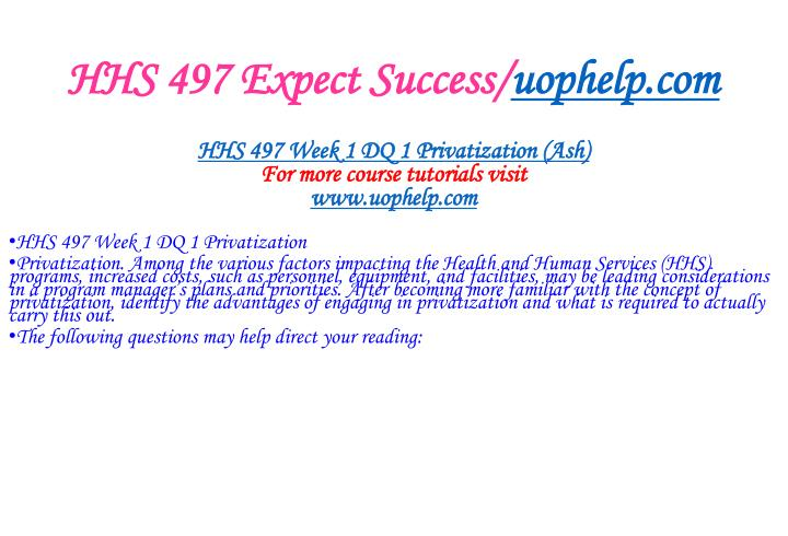 Hhs 497 expect success uophelp com2