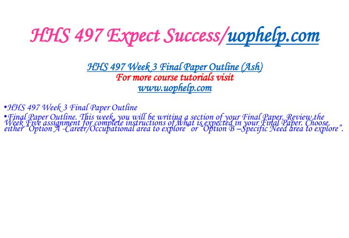 HHS 497 Expect Success/