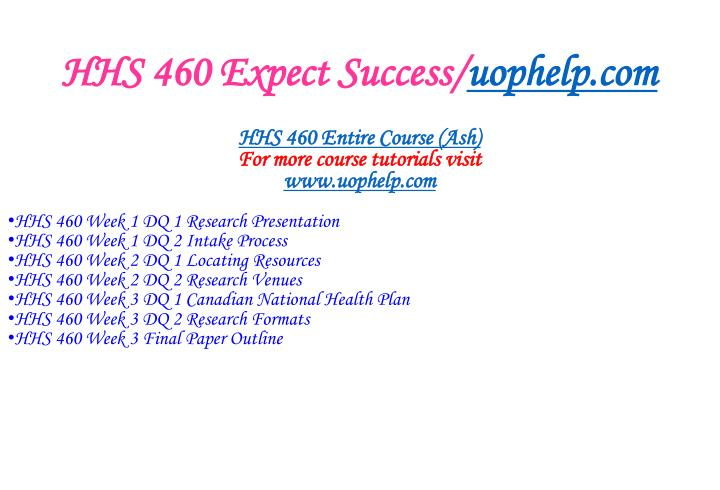 Hhs 460 expect success uophelp com1