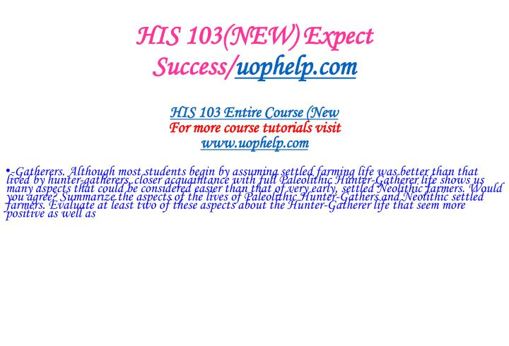 His 103 new expect success uophelp com1