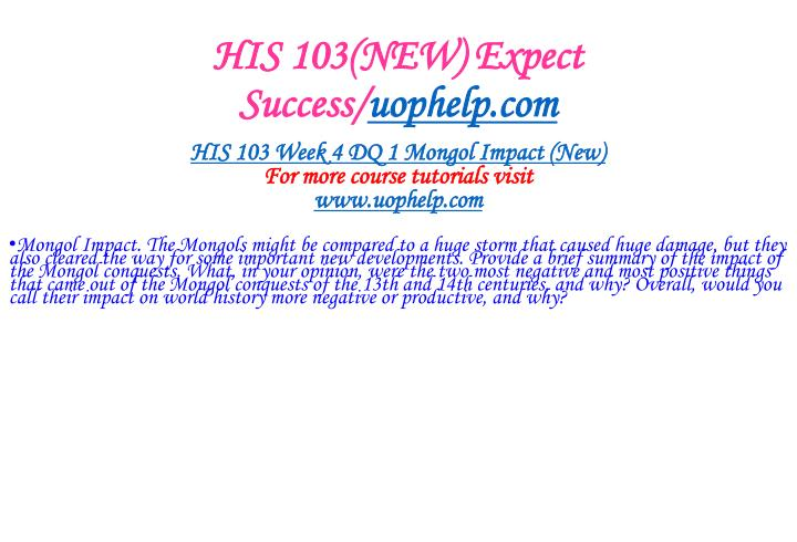 HIS 103(NEW) Expect Success/