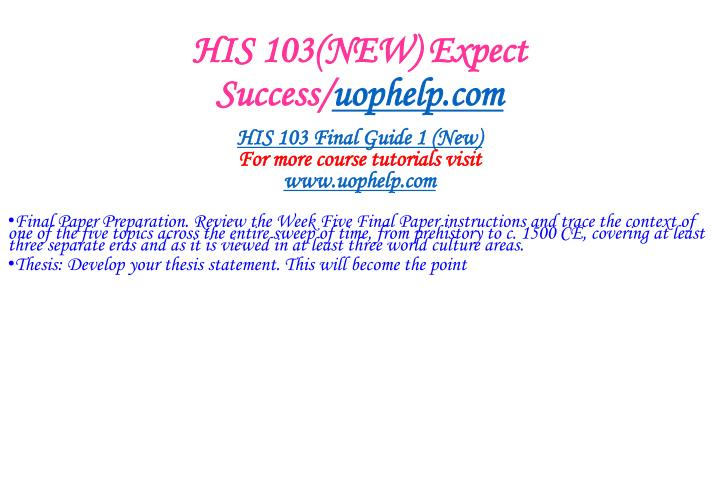 His 103 new expect success uophelp com2