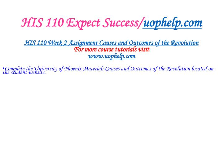 HIS 110 Expect Success/
