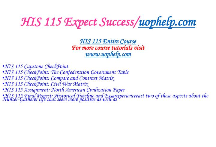 His 115 expect success uophelp com1