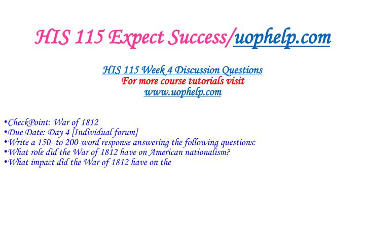 HIS 115 Expect Success/