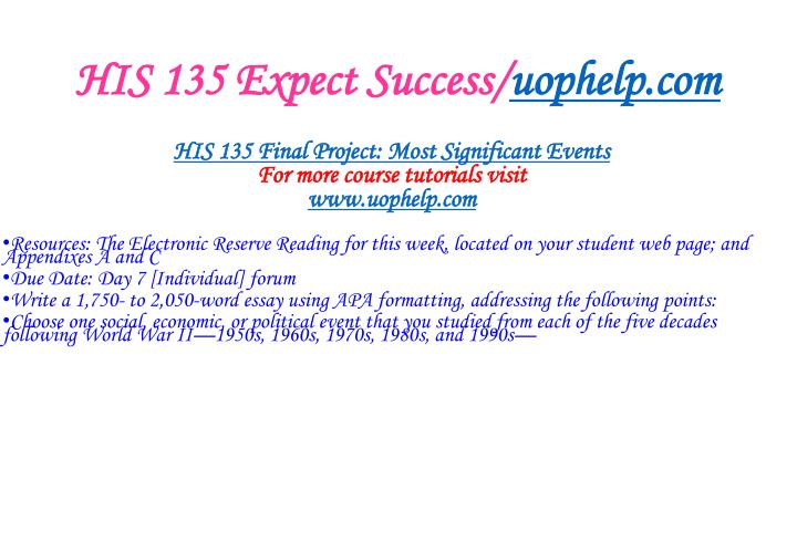 His 135 expect success uophelp com2