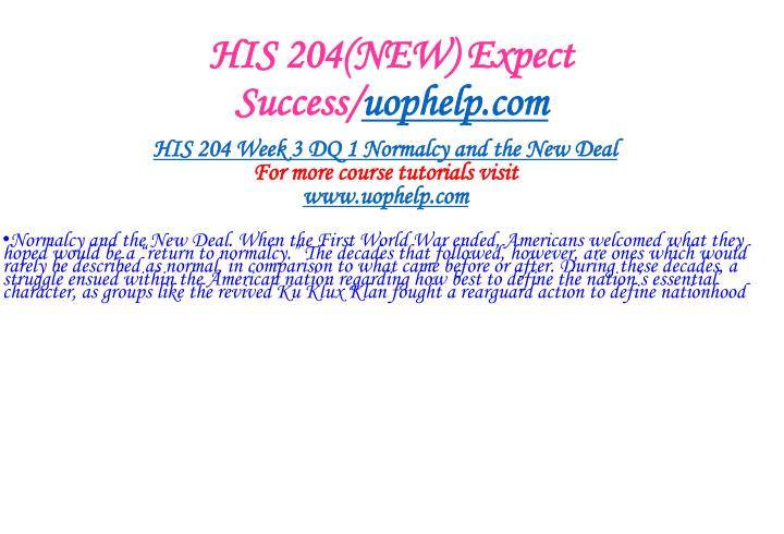 HIS 204(NEW) Expect Success/