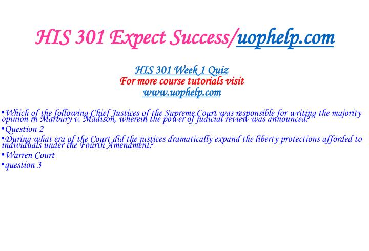 HIS 301 Expect Success/