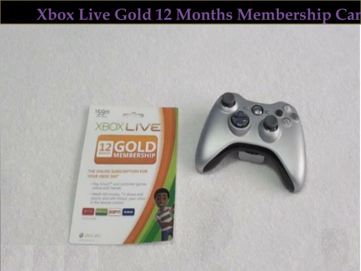 Xbox Live Gold 12 Months Membership Card