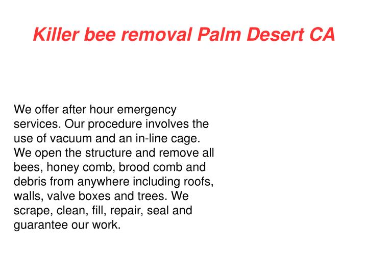 Killer bee removal Palm Desert CA