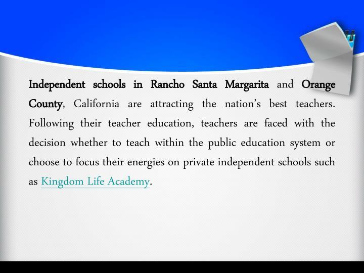 Independent schools in Rancho Santa Margarita