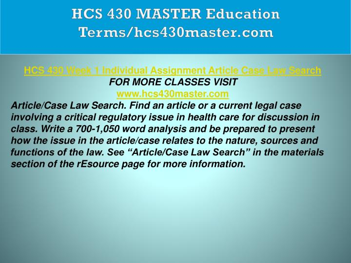 HCS 430 MASTER Education Terms/hcs430master.com
