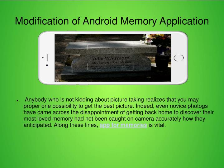 Modification of android memory application