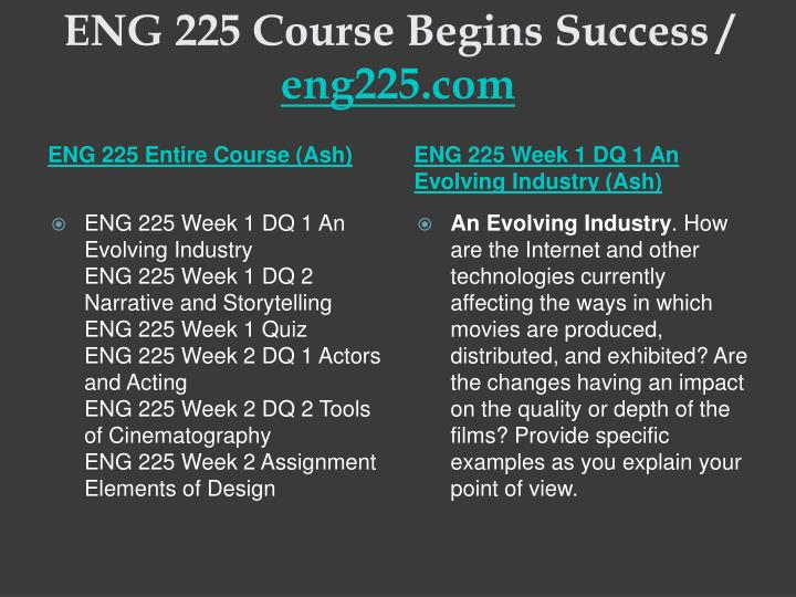 Eng 225 course begins success eng225 com1
