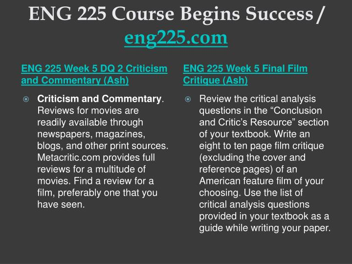 ENG 225 Course Begins Success /
