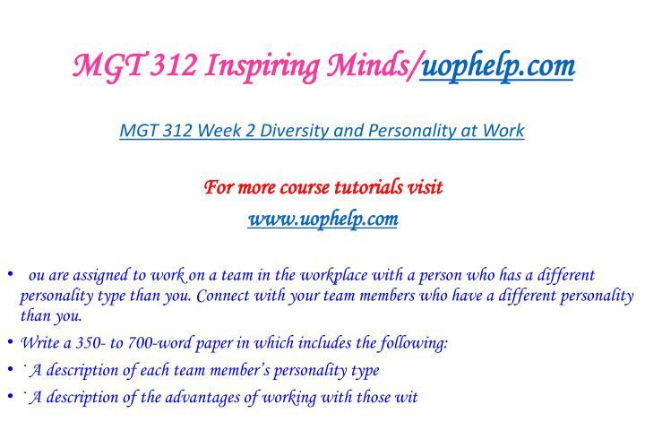 MGT 312 Inspiring Minds/