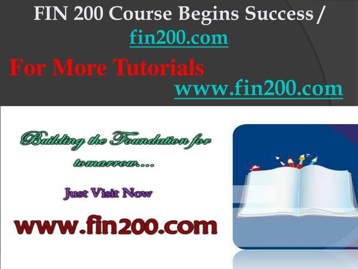 Fin 200 course begins success fin200 com