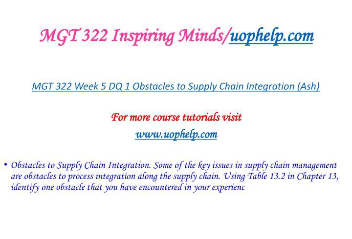 MGT 322 Inspiring Minds/