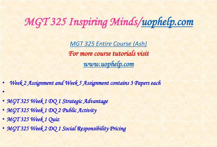 MGT 325 Inspiring Minds/