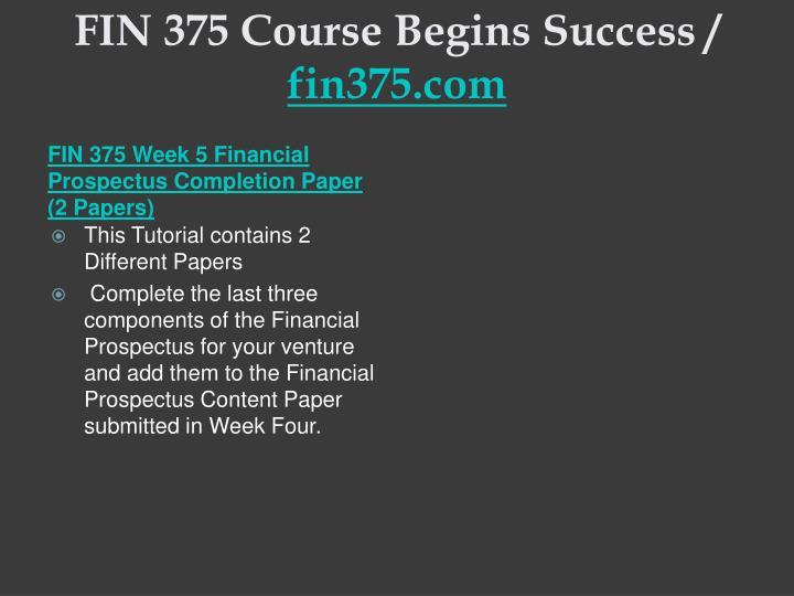FIN 375 Course