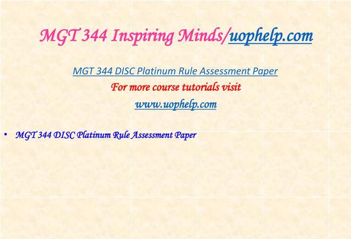 MGT 344 Inspiring Minds/