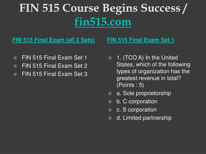 Fin 515 course begins success fin515 com2