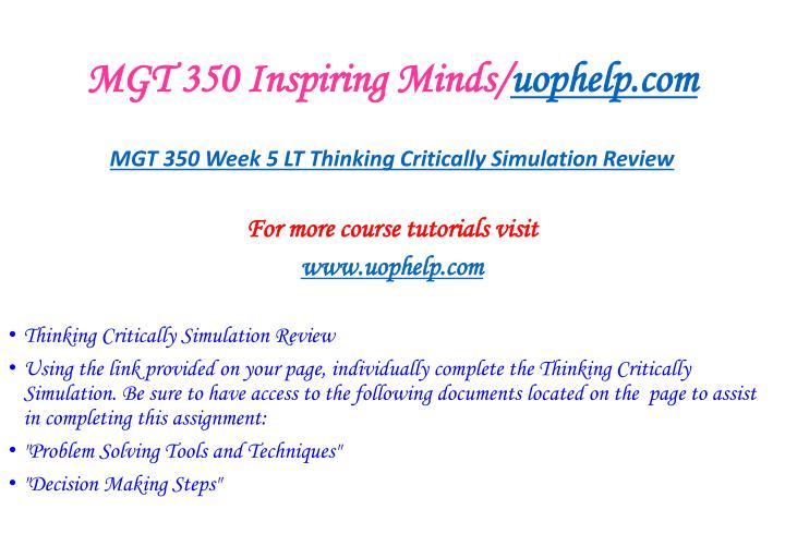 MGT 350 Inspiring Minds/