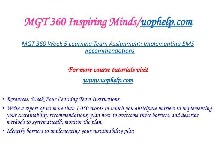 MGT 360 Inspiring Minds/