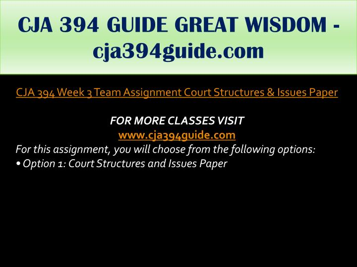 CJA 394 GUIDE GREAT WISDOM - cja394guide.com