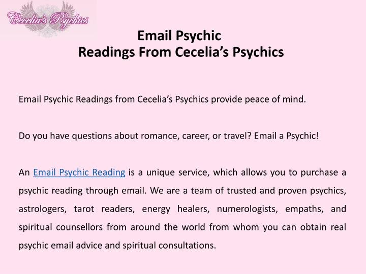 Email psychic readings from cecelia s psychics