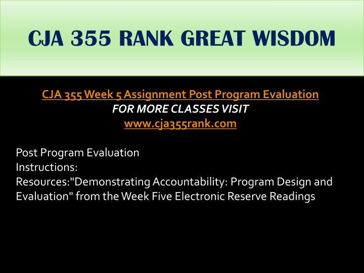 CJA 355 RANK GREAT WISDOM