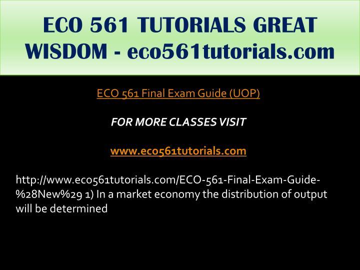 ECO 561 TUTORIALS GREAT WISDOM