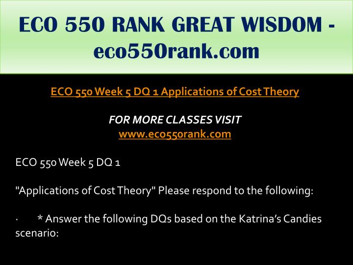 ECO 550 RANK GREAT WISDOM - eco550rank.com