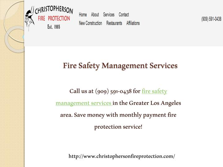 Fire Safety Management Services