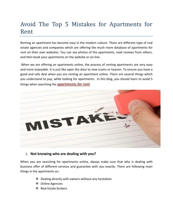 Avoid The Top 5 Mistakes for Apartments for
