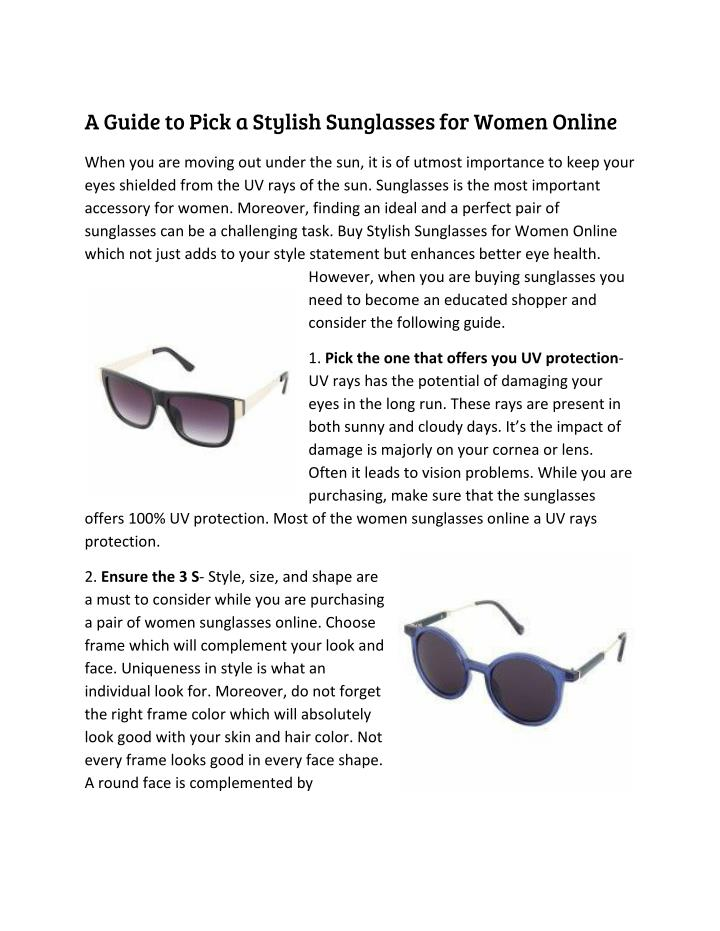 A Guide to Pick a Stylish Sunglasses for Women Online
