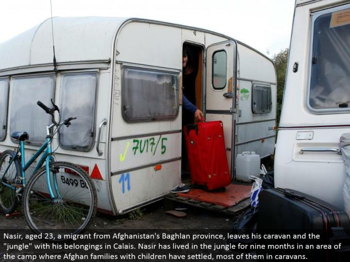Nasir, matured 23, a transient from Afghanistan's Baghlan area, leaves his convoy and the