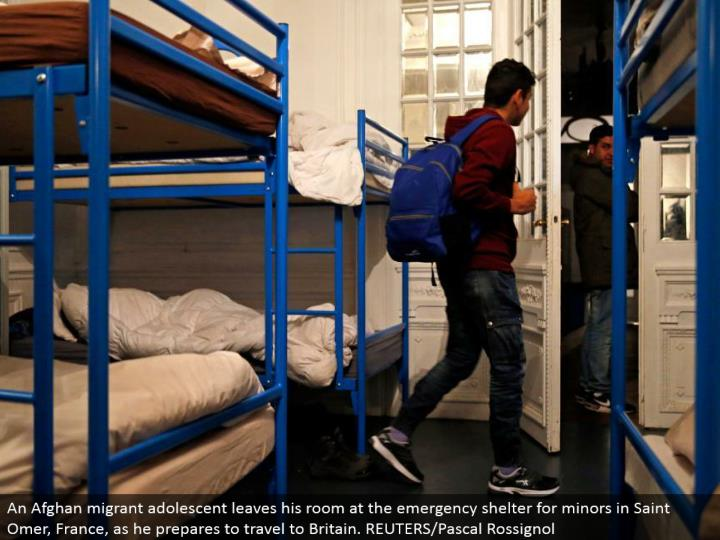 An Afghan vagrant pre-adult leaves his room at the crisis shield for minors in Saint Omer, France, as he gets ready to go to Britain. REUTERS/Pascal Rossignol