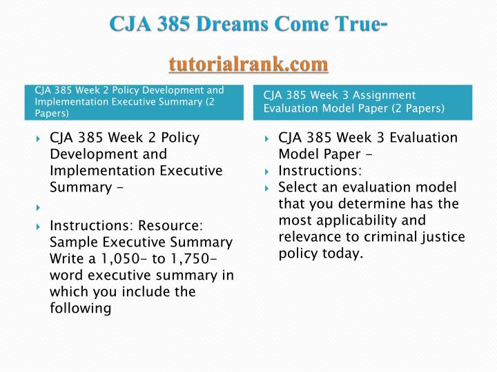 CJA 385 Dreams Come True