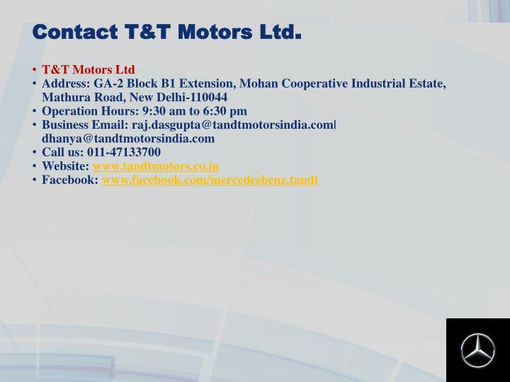 Contact T&T Motors Ltd