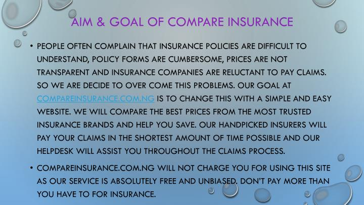 Aim & GOAL OF Compare insurance