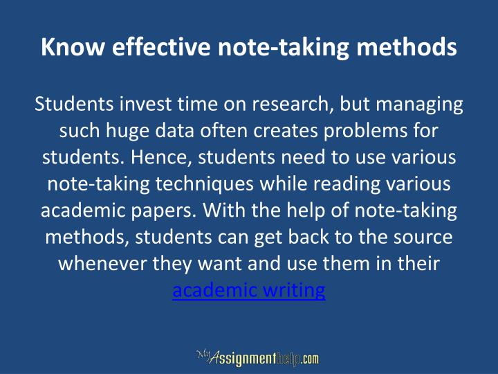 Know effective note-taking methods