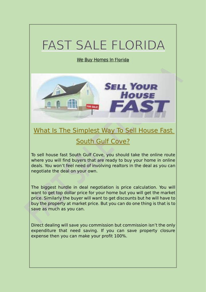 What Is The Simplest Way To Sell House Fast