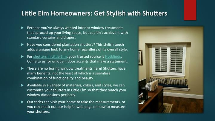 Little Elm Homeowners: Get Stylish with Shutters