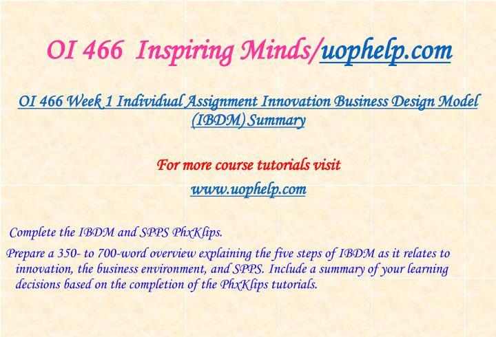 OI 466  Inspiring Minds/