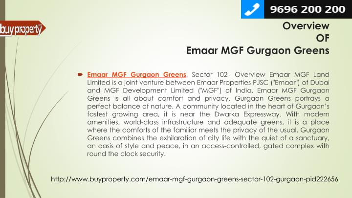Overview of emaar mgf gurgaon greens