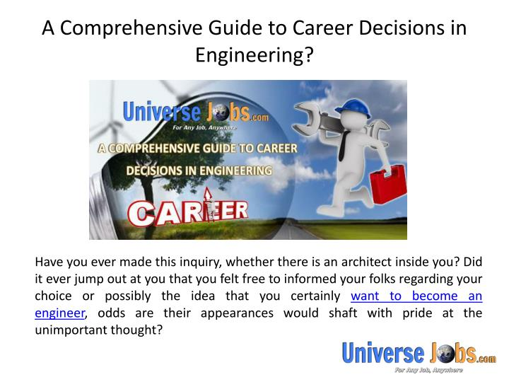 a comprehensive guide to career decisions in engineering