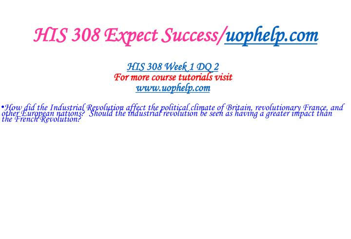 HIS 308 Expect Success/